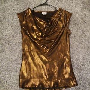 Worthington shiny bronze blouse